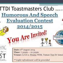 TTDI Toastmasters Club Meeting #334 Humorous & Speech Evaluation Contest 2014/2015