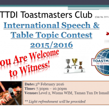 TTDI Toastmasters – 3rd Feb 2016 meeting #369 – International Speech and Table Topic Contest